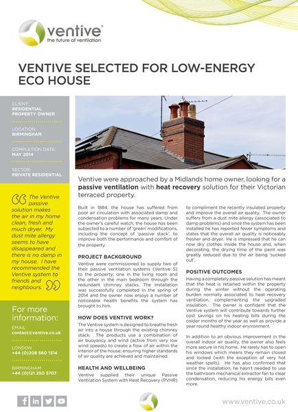 Ventive selected for low-energy eco house