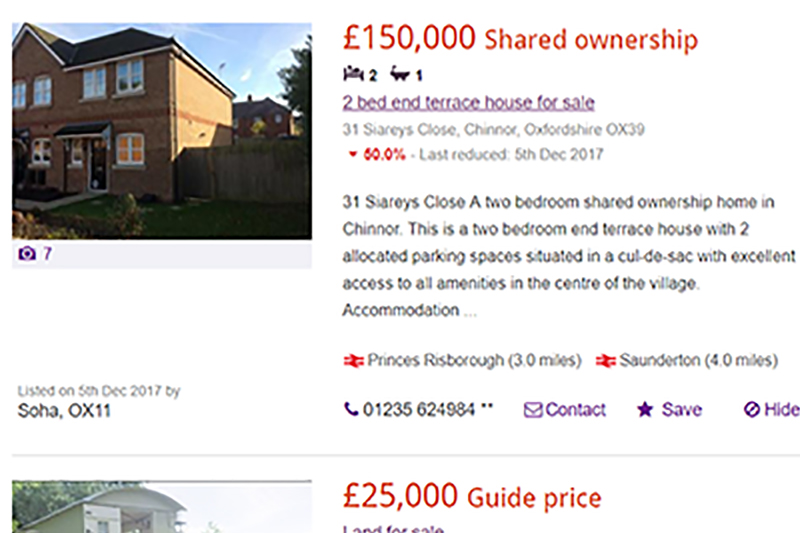 The property website Zoopla is advertising many heavily discounted properties in the south east
