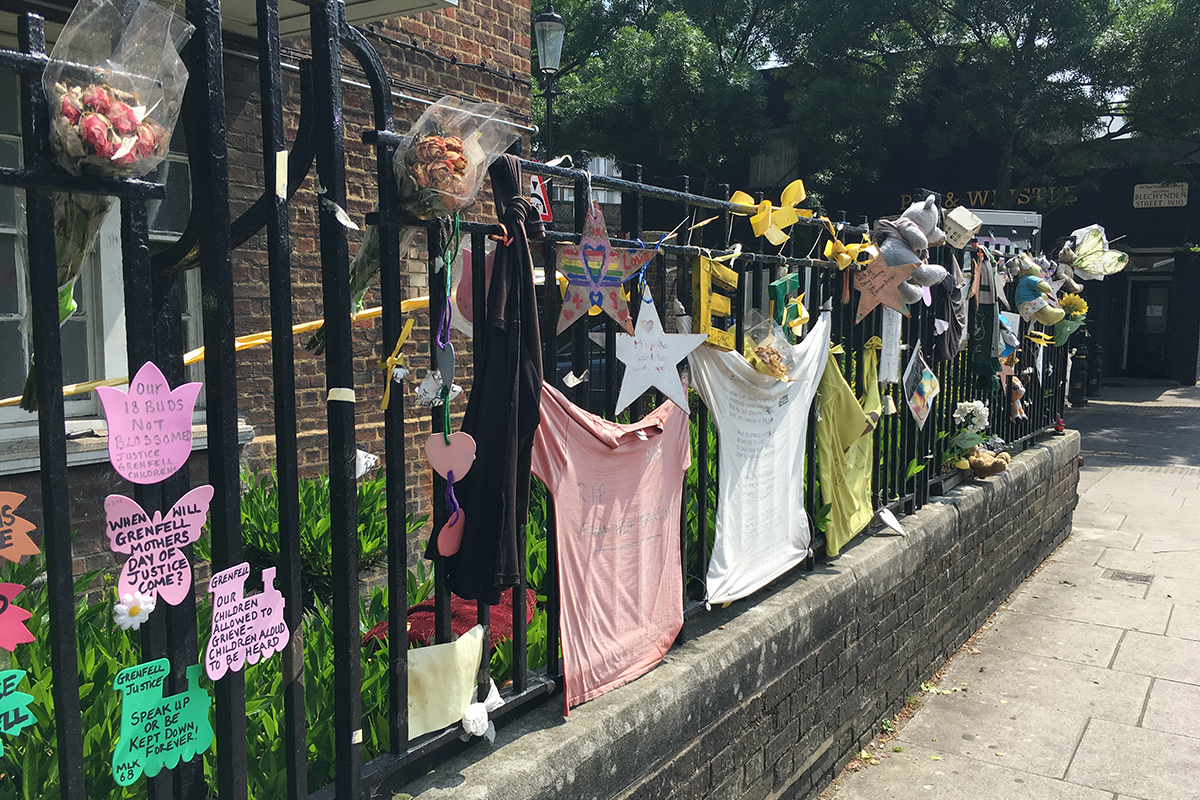 Grenfell tributes on the Lancaster West Estate (picture: Lucy Brown)