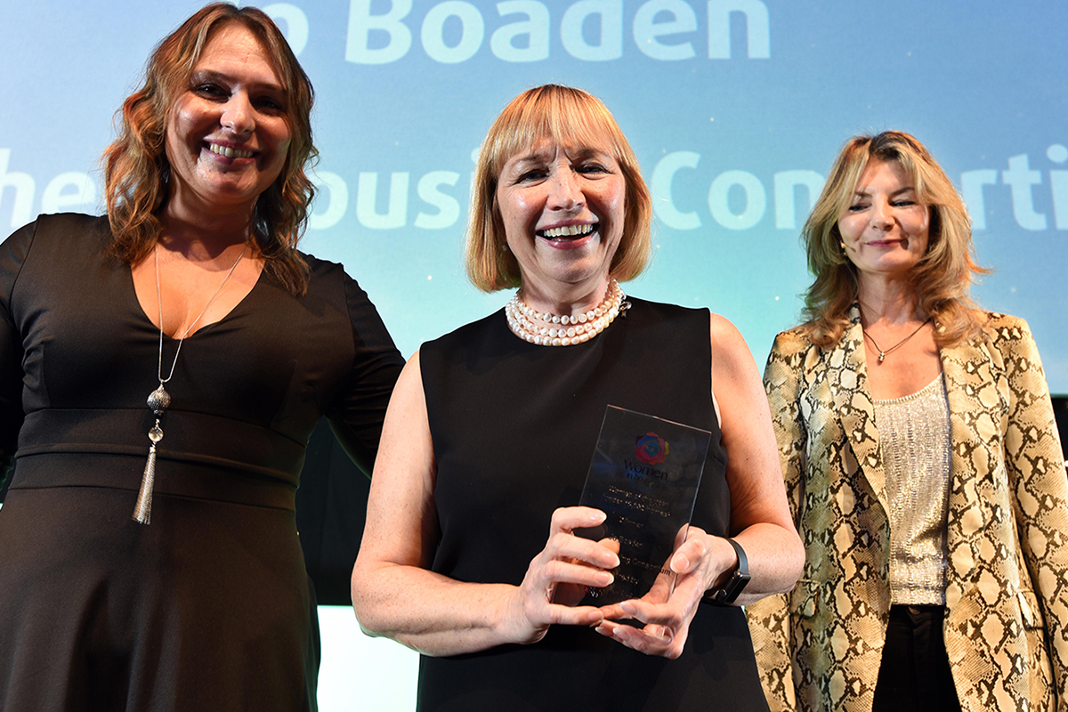 Jo Boaden (centre) won a prize at the Women in Housing Awards (picture: Mark Pinder/Guzelian)