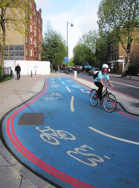 The electric blue London cycle superhighways, photo by Patrick Mackie