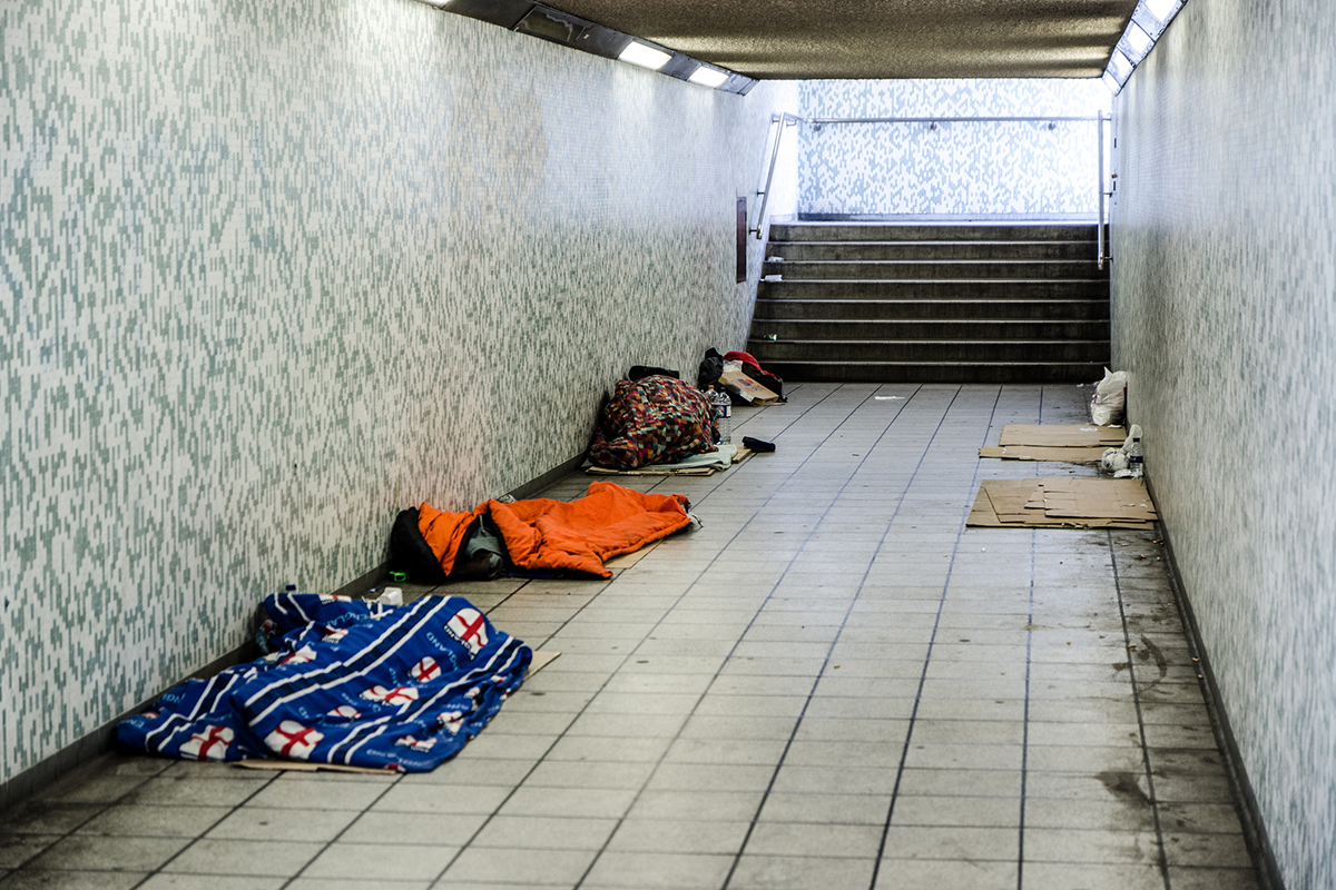 Rough sleepers in a London subway (picture: Getty)