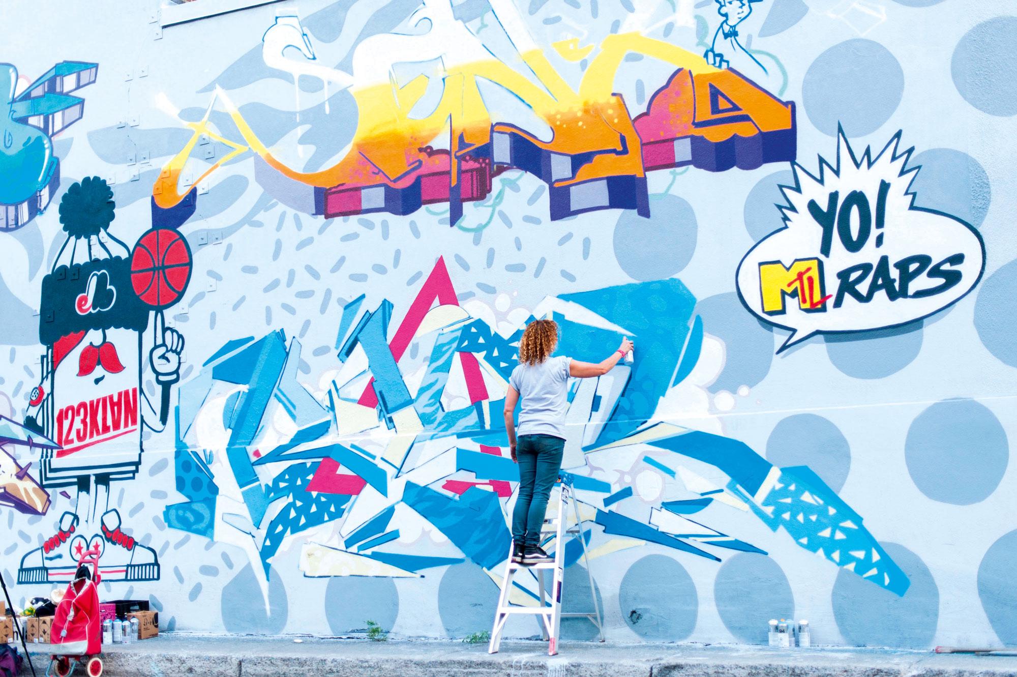 123Klan's artwork at the Under Pressure Festival in Montreal in 2015. Photo: Le Babillard/Alamy