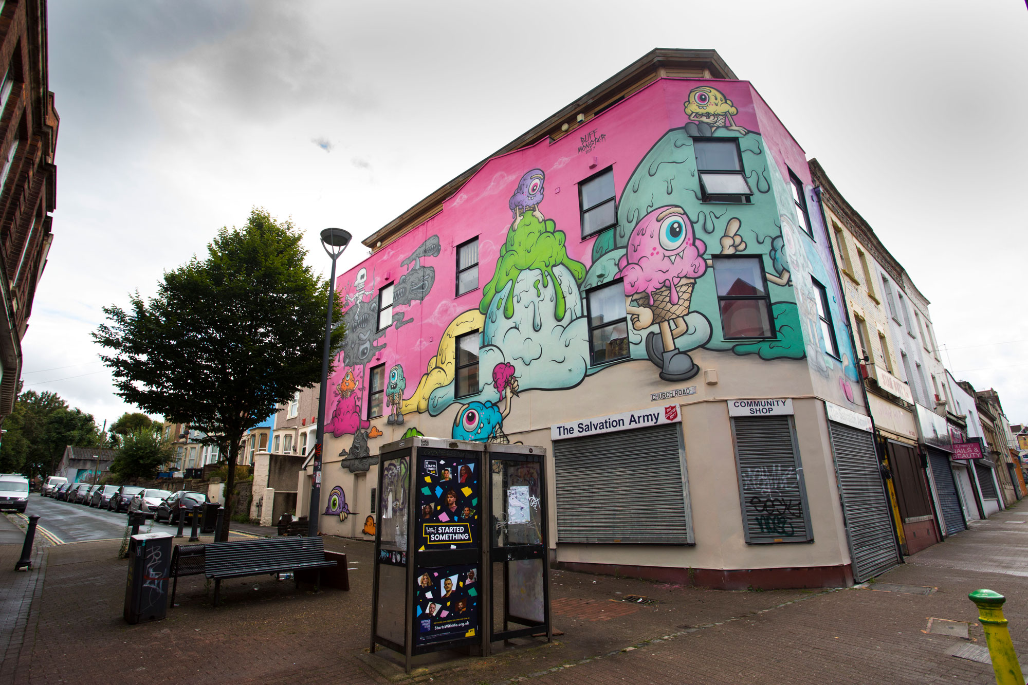 American artist Buff Monster on The Salvation Army shop in Bristol, Upfest 2017. Photo: Paul Box