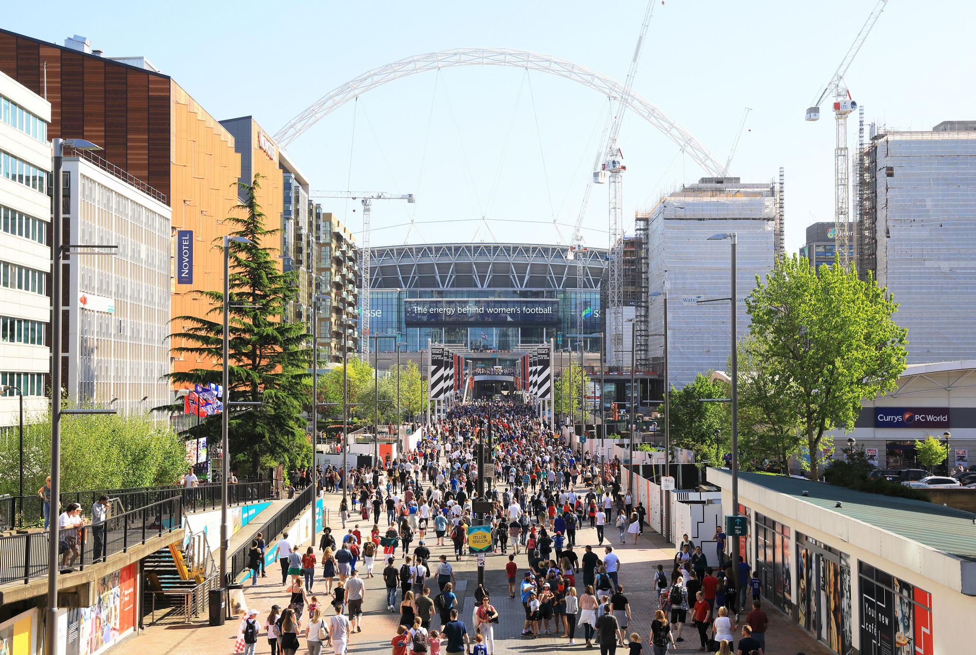 The route to the stadium, Olympic Way, planted with trees to reduce carbon Photo: Monica Wells/Alamy