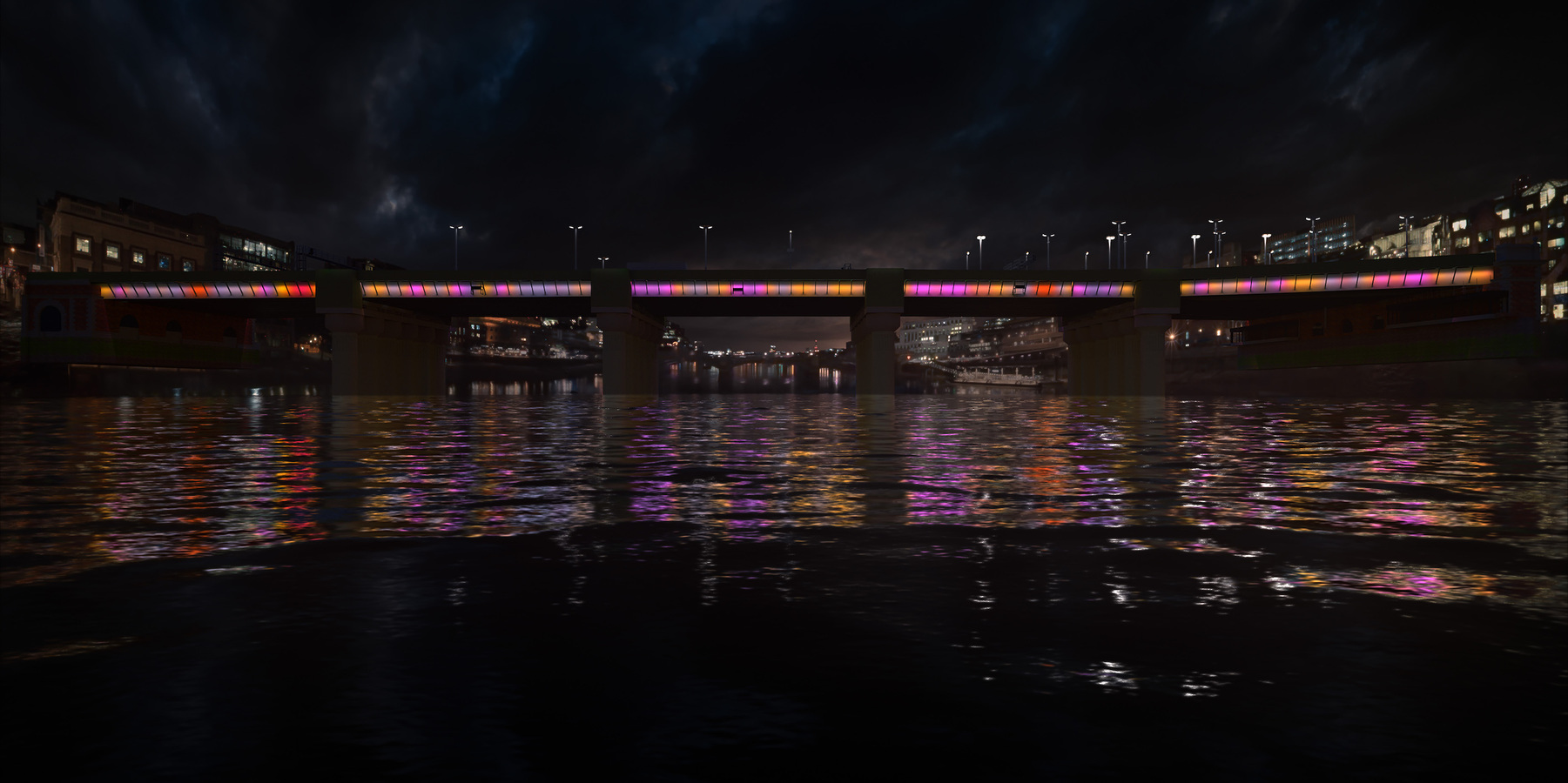 Cannon Street Bridge will have more colour to reflect the night time activity