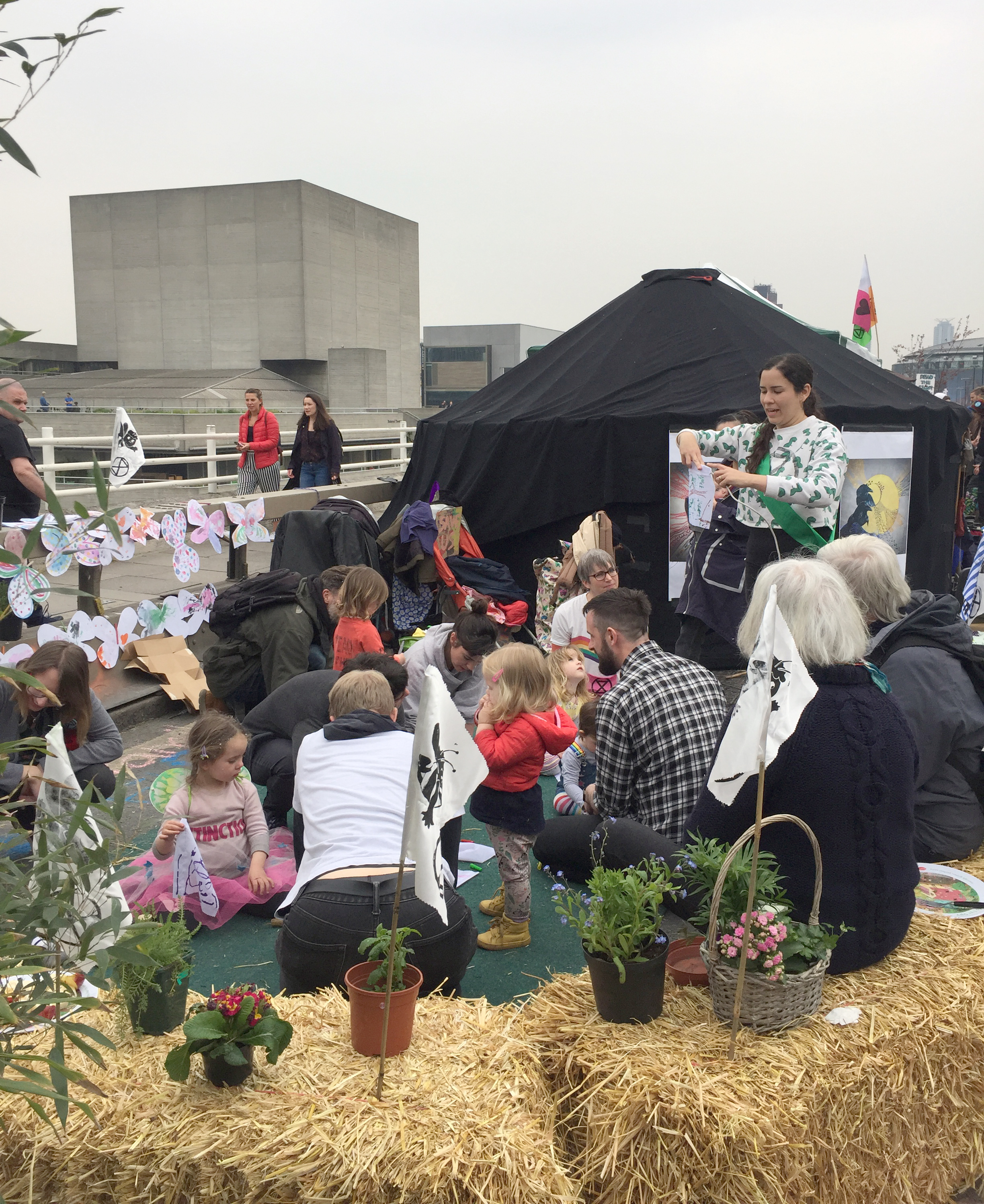 An arts and craft session with children on Waterloo Bridge