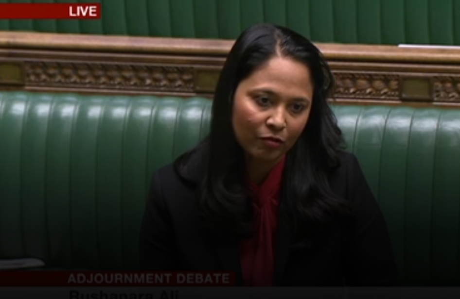 Rushanara Ali, MP for Bethnal Green and Bow (picture: BBC Parliament)