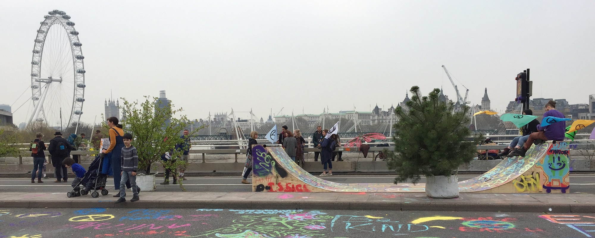 The skate ramp in the morning on Waterloo Bridge
