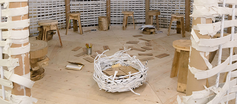 The woven paper yurt, created with children and young people in Canada Water