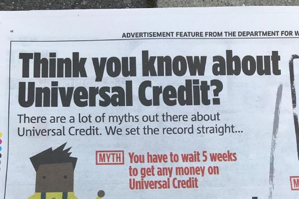 Watchdog bans government's Universal Credit adverts for being 'misleading'