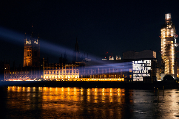 Grenfell survivors project message onto Houses of Parliament slamming failures