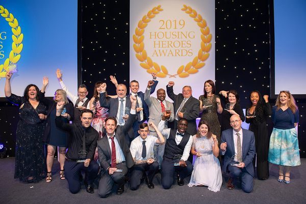 The winners at the Housing Heroes 2019 awards ceremony in Manchester (photography: Sira Studio)