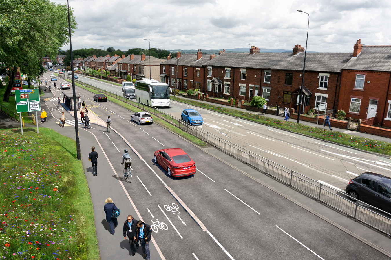 Cycle lane proposal Warrington Road, Wigan