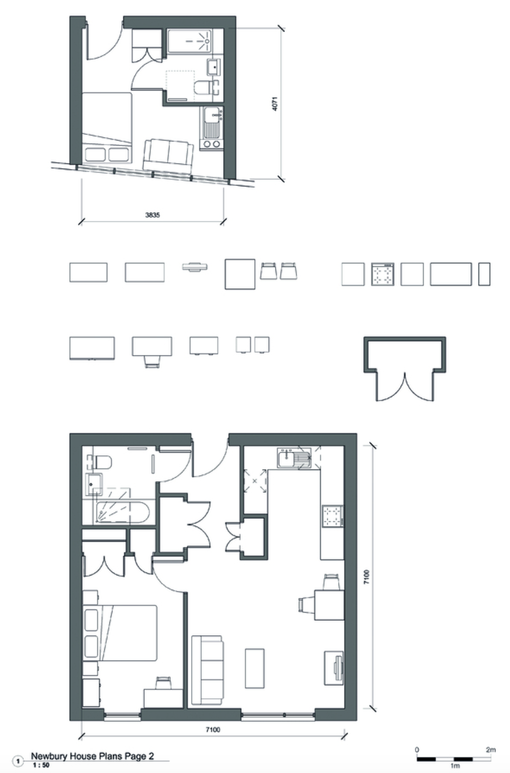 Comparison of a two-person studio in Newbury House compared to the space standard equivalent