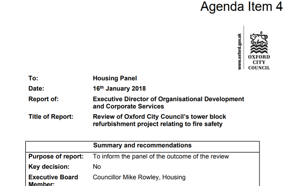 The front sheet of the Oxford City Council review
