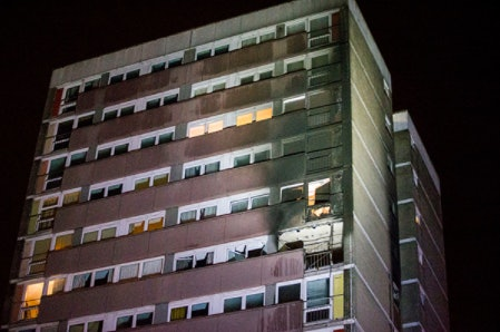 The aftermath of a fire in Belfast which spread via window panels