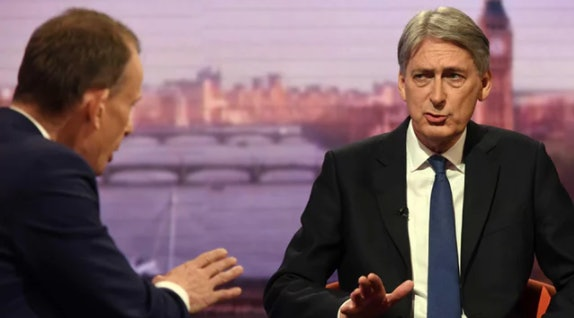 Philip Hammond tells Andrew Marr the cladding used on Grenfell was banned (copyright: BBC)