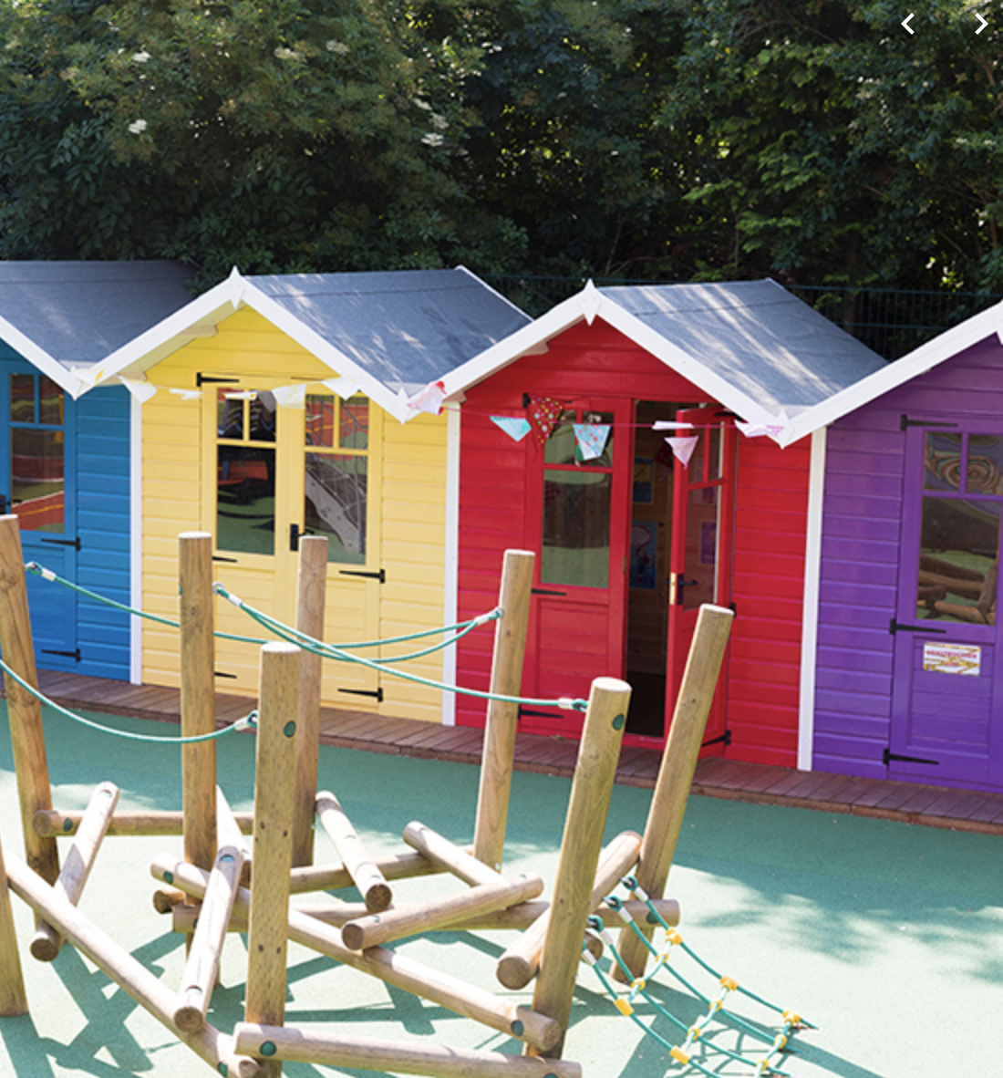 Beach huts for storing PE equipment at Sarum House School, Hampstead