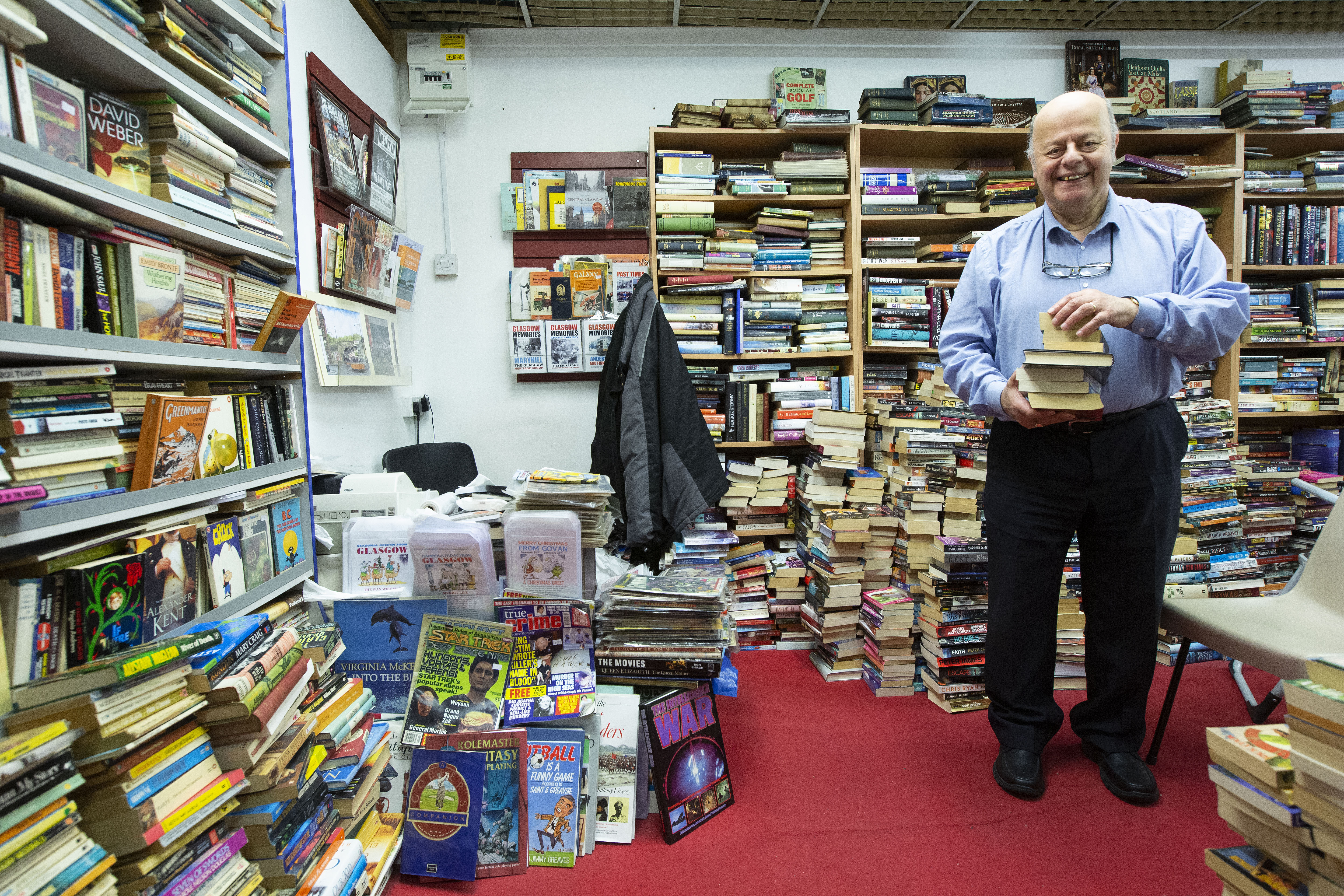 Paul Abrahams in his Book Tree book shop in COLAB in the Savoy Centre