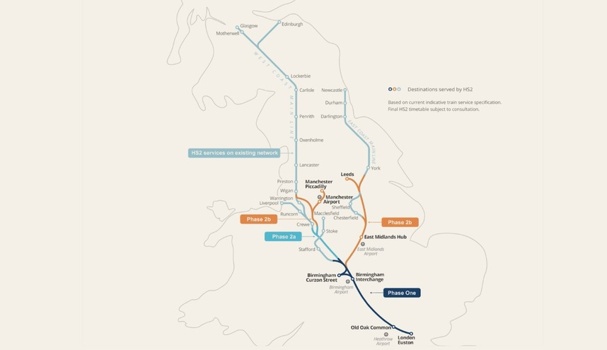 The planned Y-shaped HS2 network