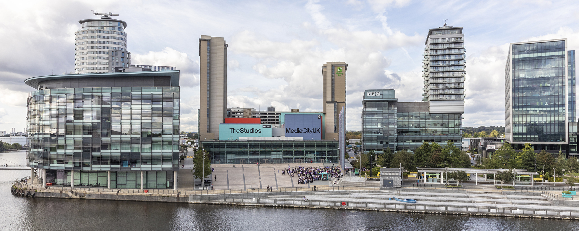 The offices of the BBC and ITV, as well as the TV studios, make up the core of MediaCityUK