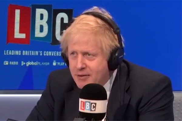 Boris Johnson speaks on the radio during the campaign (picture: LBC)