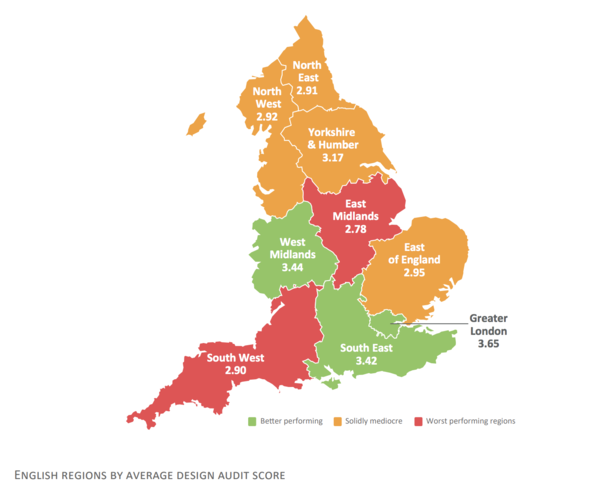 The distribution of poor and very poor housing is concentrated in the East Midlands and South West