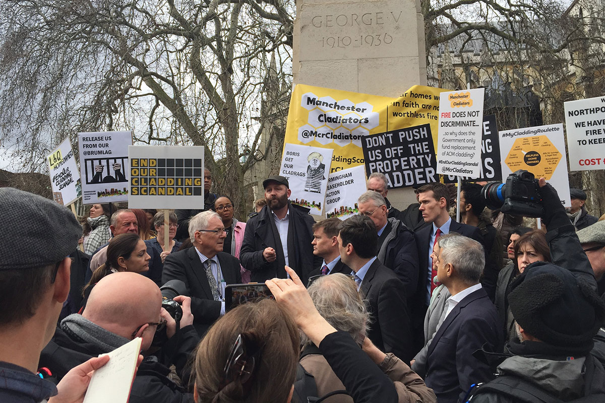 Campaigners descend on Westminster to demand an end to the cladding scandal
