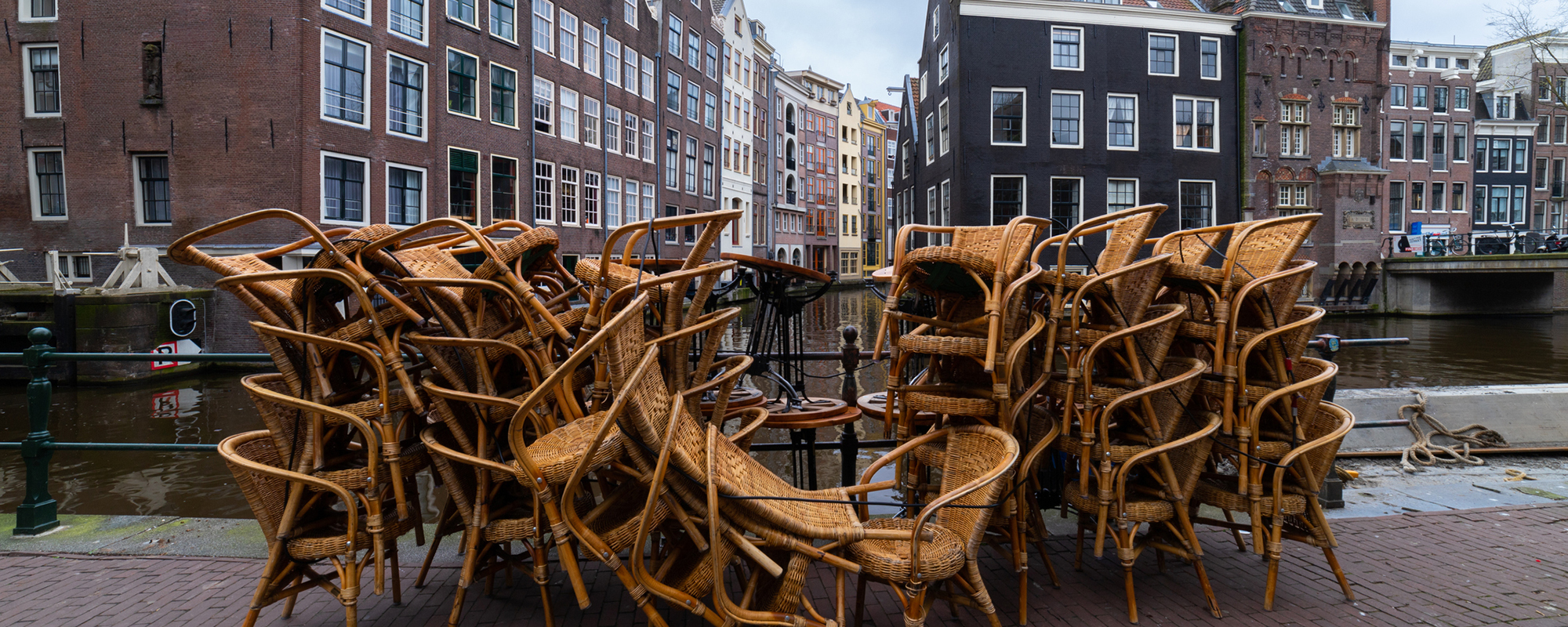 Chairs stacked in the streets of Amsterdam (picture: Getty)