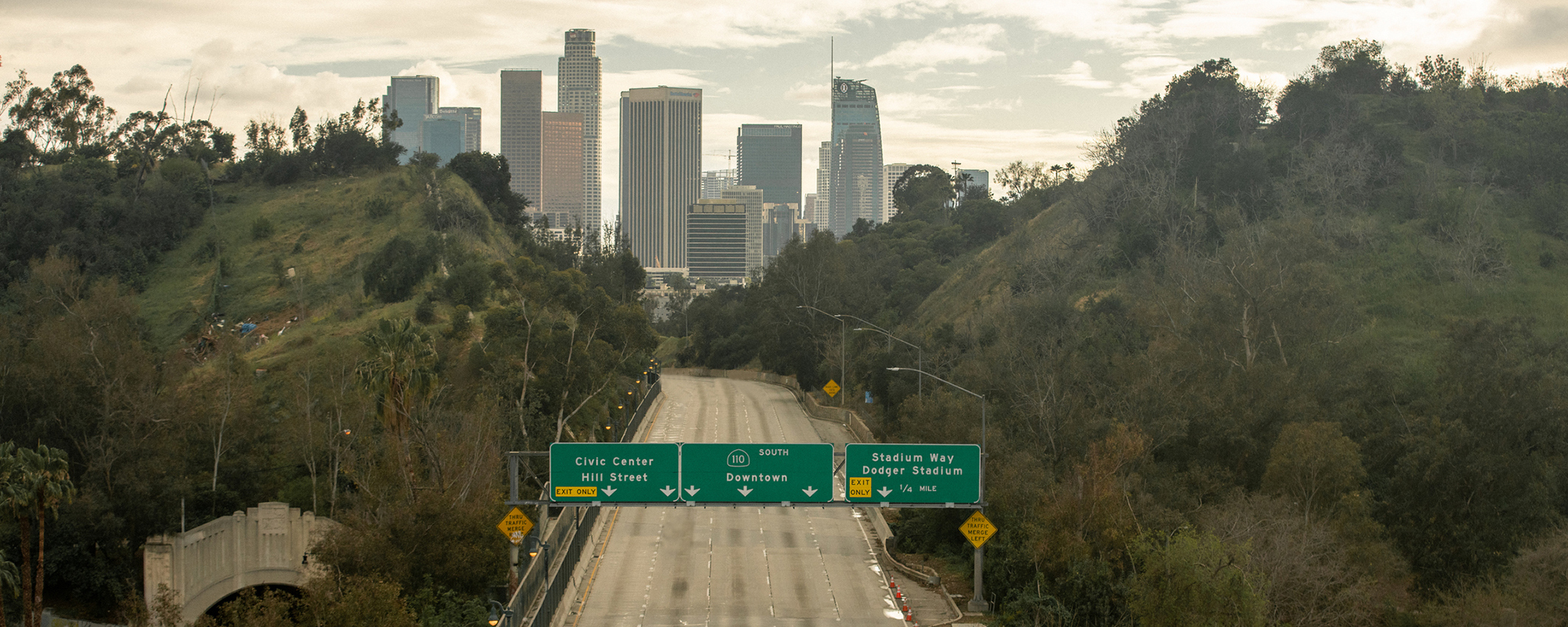 The freeways of Los Angeles during lockdown. Getty Images