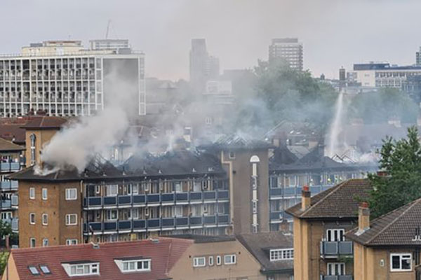 Residents rescued from blaze at council-owned block in east London