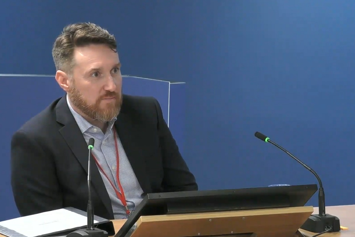 Simon Lawrence giving evidence to the Grenfell Tower Inquiry yesterday (picture: Grenfell Tower Inquiry)