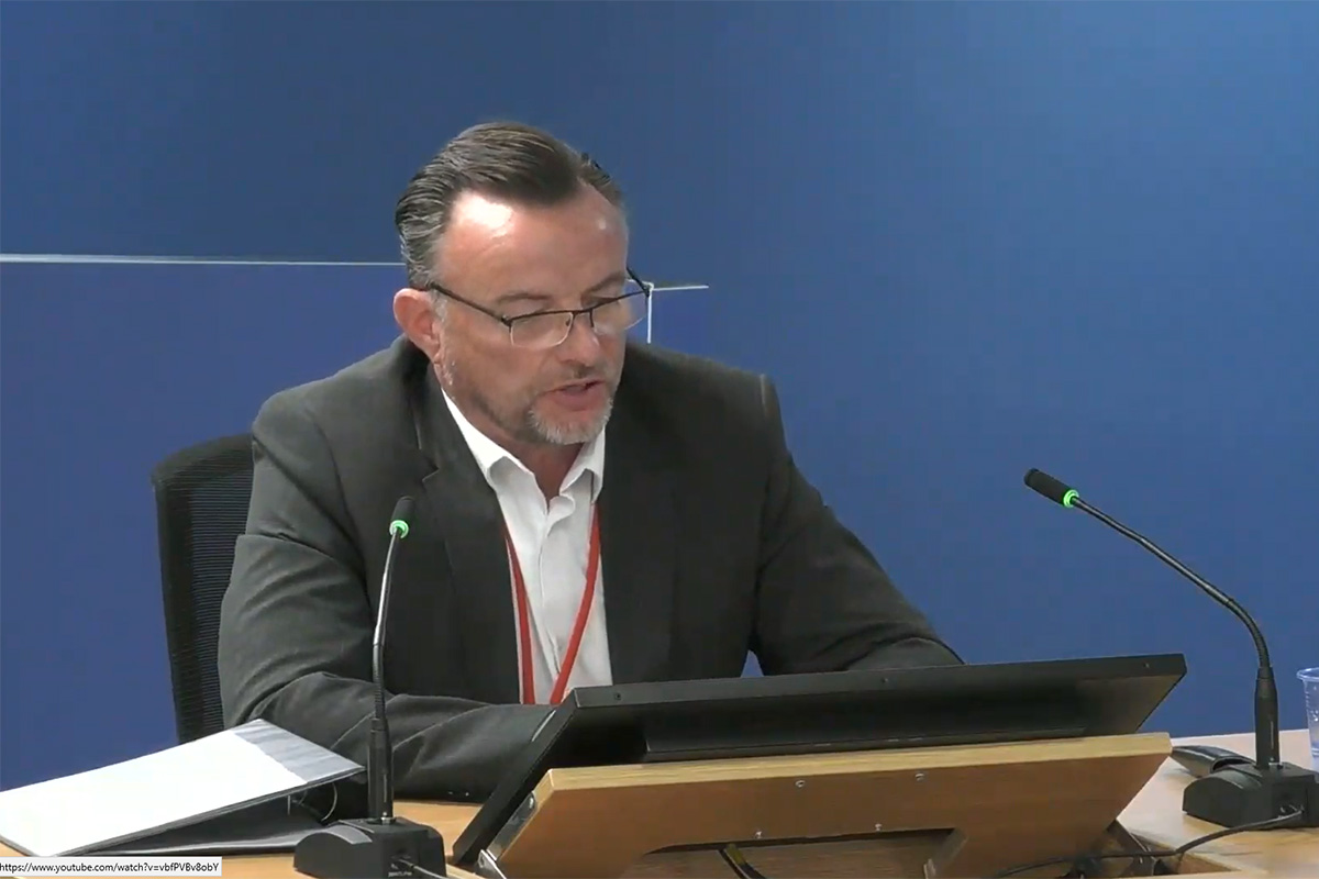 Stephen Blake, refurbishment director at Rydon during the Grenfell project, gave evidence today (picture: Grenfell Tower Inquiry)