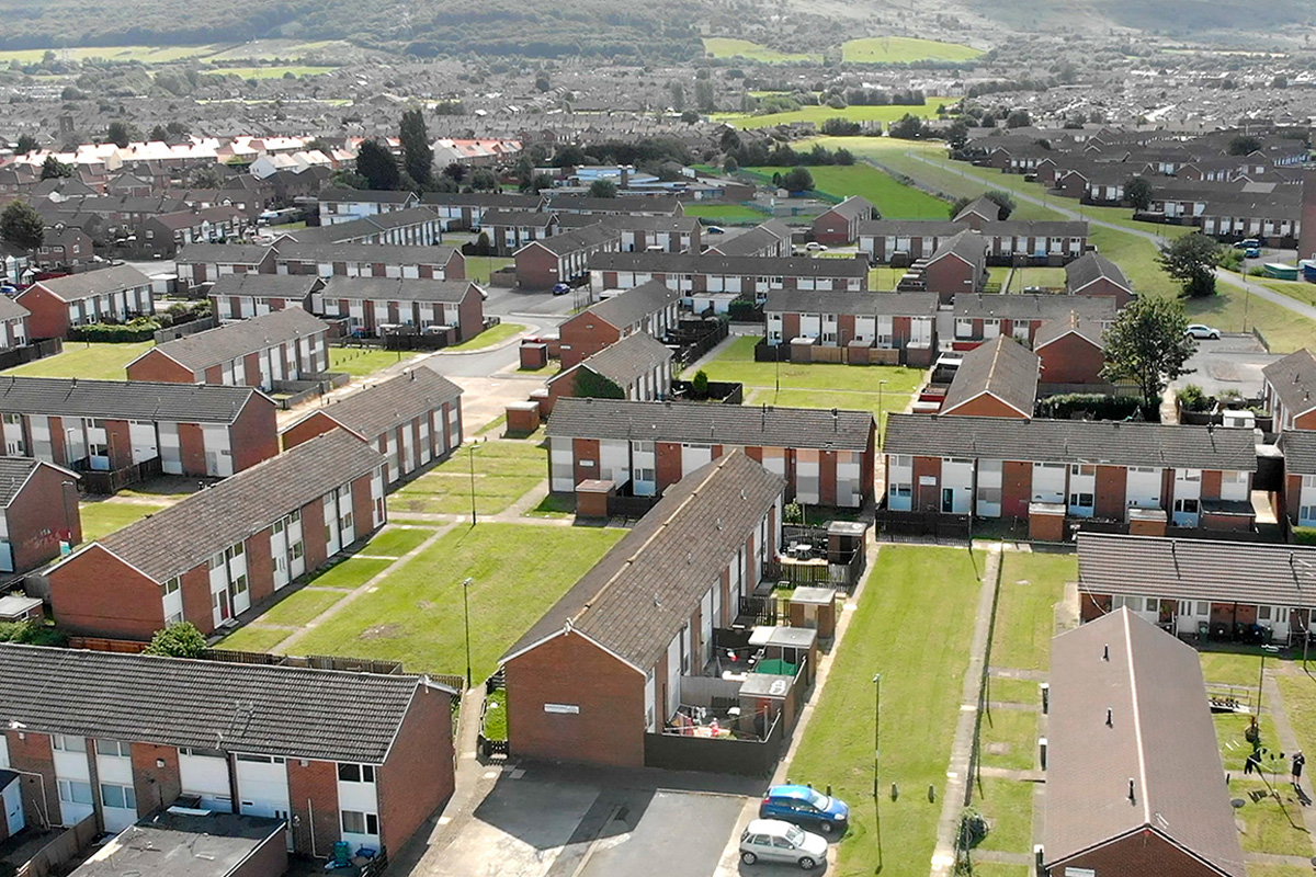The existing homes on the Church Lane North Estate in Eston, North Yorkshire, which Beyond Housing is regenerating