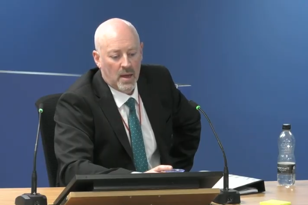 Tony Millichap, technical manager at Kingspan, gave evidence to the inquiry (picture: Grenfell Tower Inquiry)