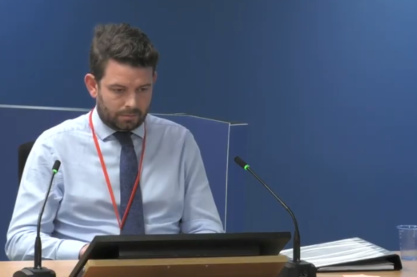 Paul Evans gives evidence to the inquiry (picture: Grenfell Tower Inquiry)