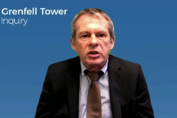 Claude Schmidt gives evidence via video link (picture: Grenfell Tower Inquiry)
