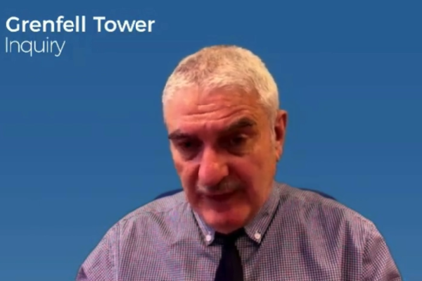 Hamo Gregorian gives evidence to the inquiry (picture: Grenfell Tower Inquiry)