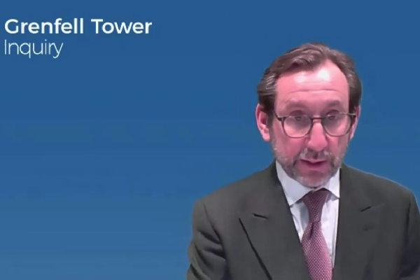 Richard Millett presents the evidence to the inquiry (picture: Grenfell Tower Inquiry)