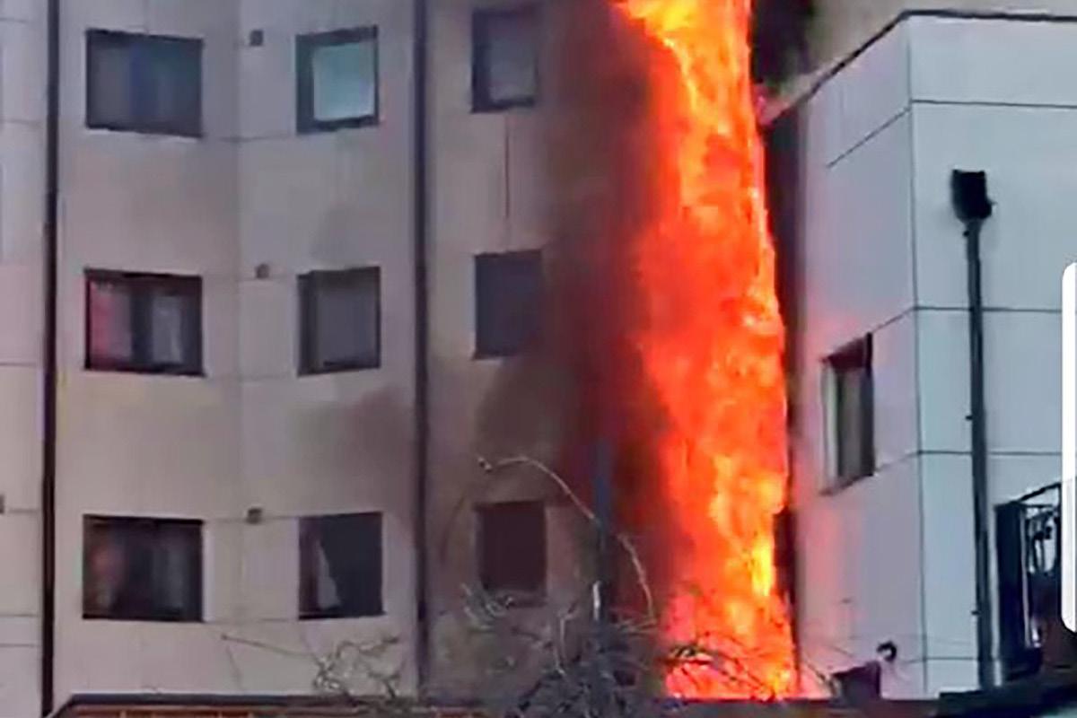 Flats damaged in cladding fire at housing association block