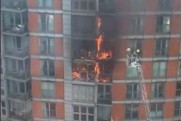 Fire breaks out at east London development with Grenfell-style cladding