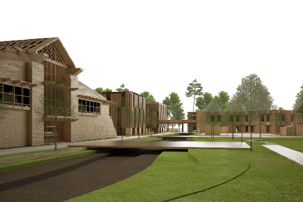 Saunders masterplan for eco-innovation business village in Cambridge centred on cycling, walking and exercising
