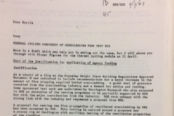 The fax between two BRE employees in 1992 (picture: Peter Apps)
