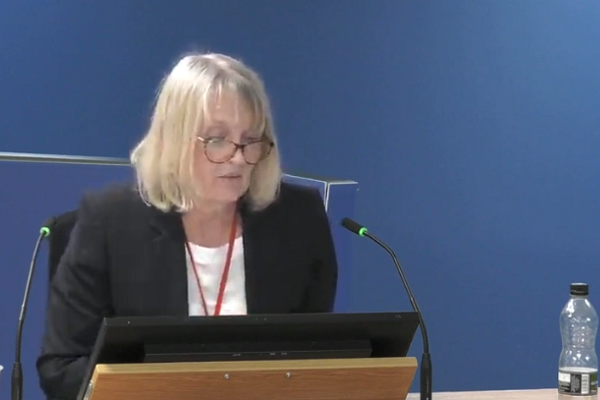 Today Janice Wray was grilled about KCTMO's failure to stay on top of the actions identified as necessary in fire risk assessments (picture: Grenfell Tower Inquiry)