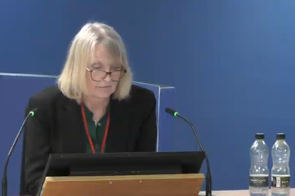 Janice Wray was asked about evacuation plans at the inquiry today (picture: Grenfell Tower Inquiry)