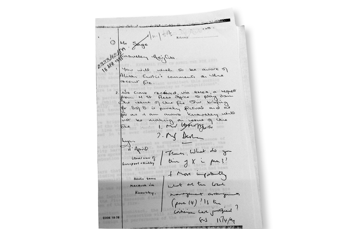 The handwritten memo contained in the National Archives