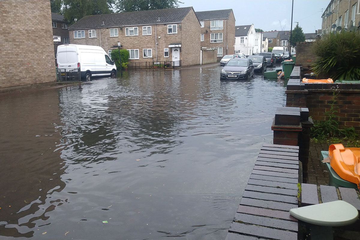 Flooding affected many areas of east London including these council homes in Newham (picture: Peter Apps)