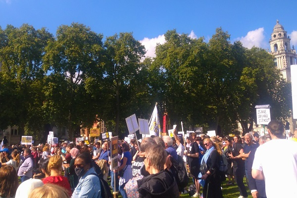 Protestors gathered at Parliament Square for the rally (picture: Peter Apps)