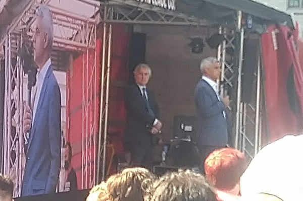 Sadiq Khan, mayor of London, addresses the crowd (picture: Peter Apps)